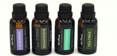 4x30ml=120ml essentiele olie   Pepermunt, Eucalyptus, Lavendel en Tea Tree