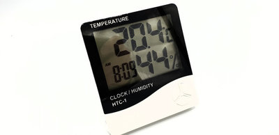 Luchtvochtigheid & temperatuur meter + klok + alarm!
