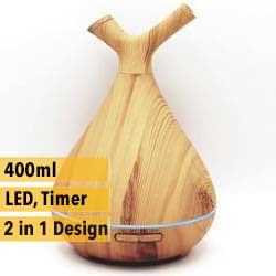 AD Aquair type duo Chiaro (hout/wood)  Timer, LED,  Afneembare top   400ml   (ultrasone aroma diffuser)